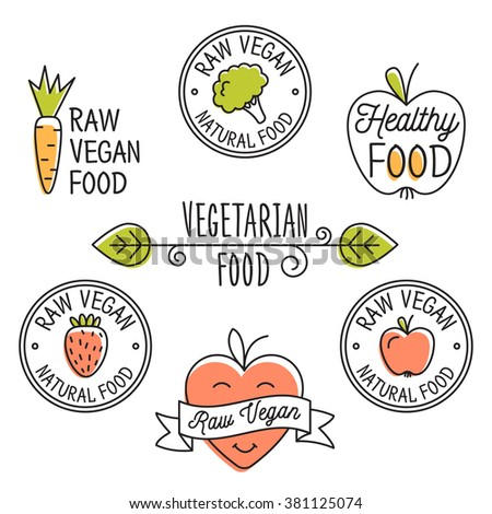 Raw vegan, detox, organic  labels, logo and elements for food, drink, restaurants, bio products. Business signs template, concept, corporate identity badges and objects. - stock vector