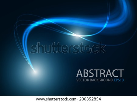 Ray blue light background curve line technology digital lighting art background for text and message design , vector - stock vector