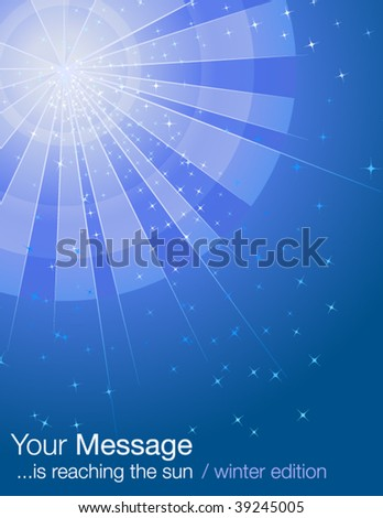 Rays of winter light with stars - stock vector