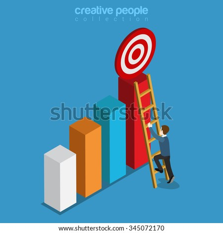 Reach target goal on top of bar graphic flat 3d isometry isometric buseinss concept web vector illustration. Businessman climbs ladder. Creative people collection. - stock vector