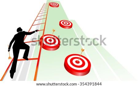 Reaching Target Goals-Conceptual business illustration of a businessman accurately hitting his target. - stock vector