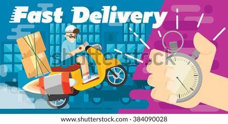 Reactive delivery transport design, vector banner. Delivery box. Delivery concept. Delivery scooter. Delivery service. Delivery motorcycle. Delivery motorbike. Fast delivery banner. Delivery man. - stock vector