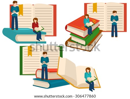 Read books concept. Education and school, study and literature. Vector illustration - stock vector