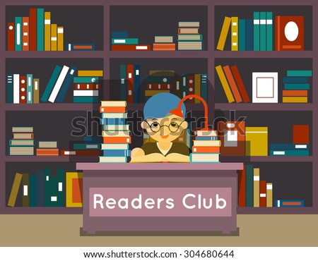 Readers club. Education and love of reading concept. Book in library, knowledge and study, literature and learning, vector illustration - stock vector