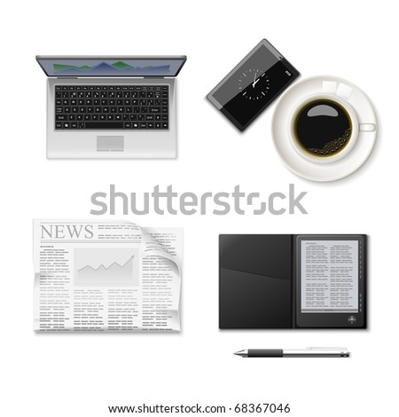 reading and coffee vector icon set - stock vector