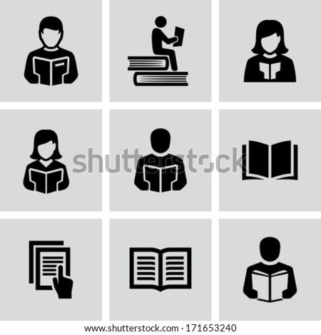 Reading Book  - stock vector