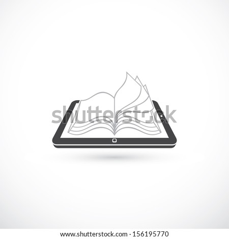 Reading book from tablet pc - vector illustration - stock vector