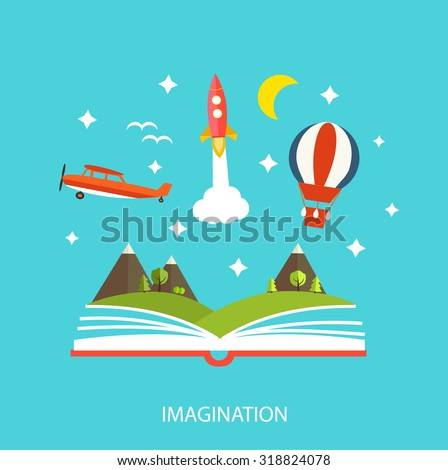 Reading book, imagination concept with stars, mountain landscape, trees, flying rocket, hot air balloon etc. - stock vector
