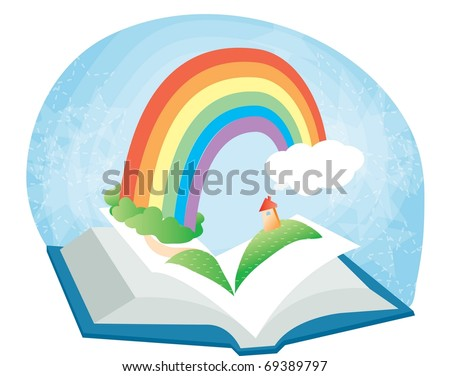 Reading Book Together - open a book and read an interesting story : vector illustration - stock vector