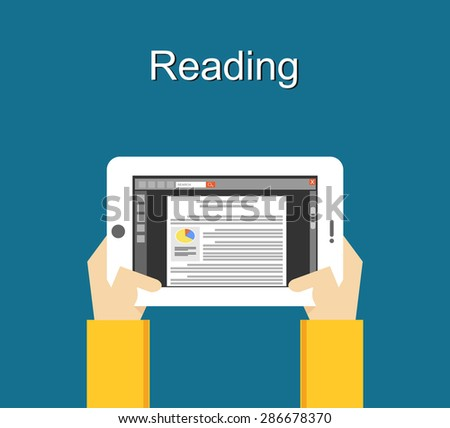 Reading concept with media device illustration. Reading with smart phone concept illustration. Flat design. - stock vector