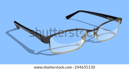Reading Glasses on colored background.  - stock vector