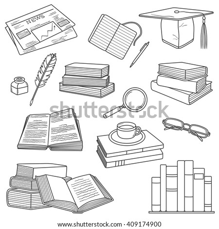 Reading icon hand drawn vector. Big collection sketch objects. Doodle illustration - stock vector