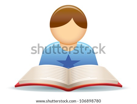Reading Kid Illustration - stock vector