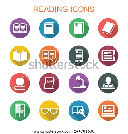reading long shadow icons, flat vector symbols - stock vector