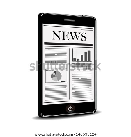 reading newspaper with smart phone