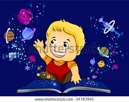 Reading Outer Space Book - Vector