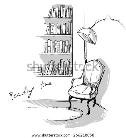 Reading time. A quiet cozy corner at home â?? bookshelves and a chair. - stock vector