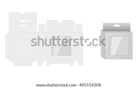 Ready Box Design with Shelf Hanging Holes and Die cut Layout. Blueprint design. Illustrated vector. White Product Package Box With Window. - stock vector