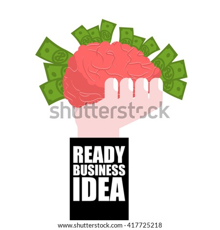 Ready business idea. Business Solutions. brain in his hand and money. concept is profitable. plan of attracting wealth - stock vector