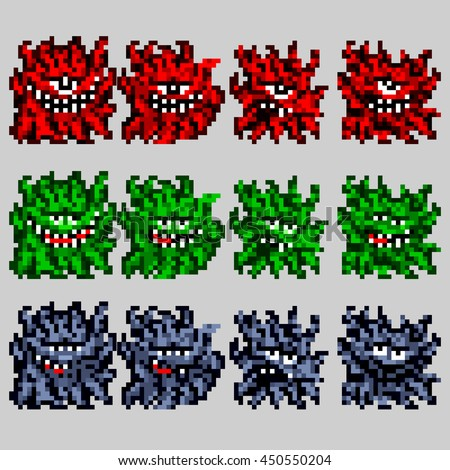 Ready pixel sprites of enemies for the game. Little cute monsters. Vector set illustration in the style of old-school pixel art.