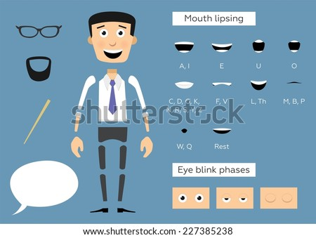 Ready to animation parts of character businessman. Include lips and eye phases. - stock vector