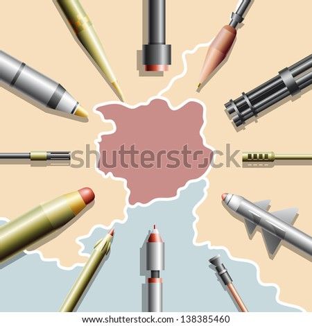 Ready to Engage - an abstract country on a map surrounded by missiles and guns (vector)