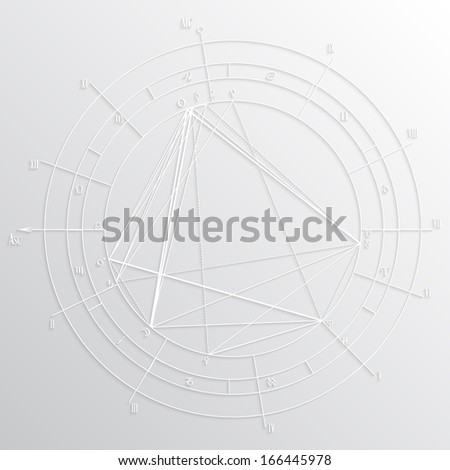 Real astrological natal chart, laconic 3d paper illustration. Western astrology, twelve houses of horoscope. - stock vector