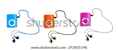 Real colored mp3 players with headphones isolated on white background. pink, orange, blue MP3-players. Vector illustration - stock vector