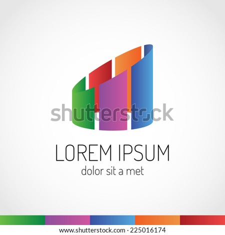 Real estate abstract logo template. Colorful buildings sign. - stock vector