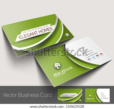 Real Estate Agent Business Card Set Template  - stock vector