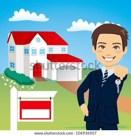 Cartoon images of estate agents for Modern house estate agents