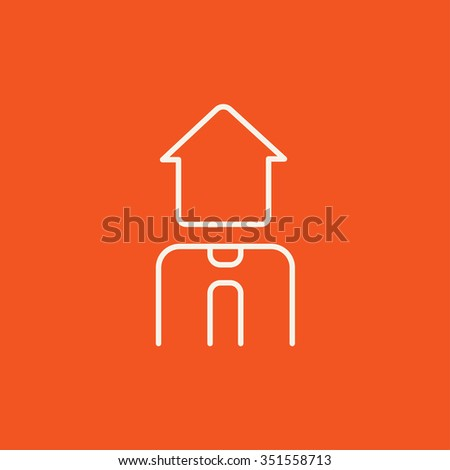 Real estate agent line icon for web, mobile and infographics. Vector white icon isolated on red background.