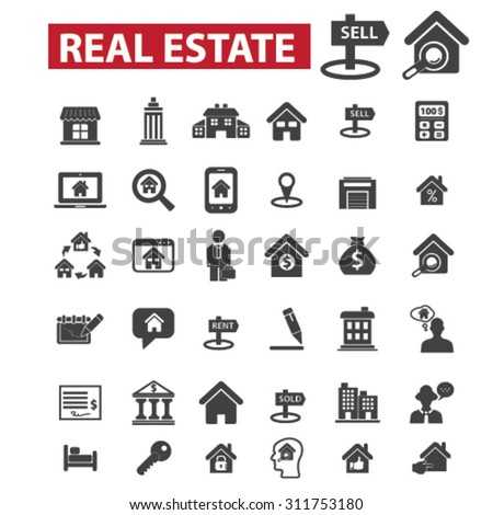 real estate, agent, sell house black isolated concept icons, illustrations set. Flat design vector for web, infographics, apps, mobile phone servces - stock vector