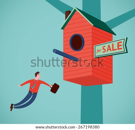 Real estate agent with a suitcase are flying to the red birdhouse. - stock vector