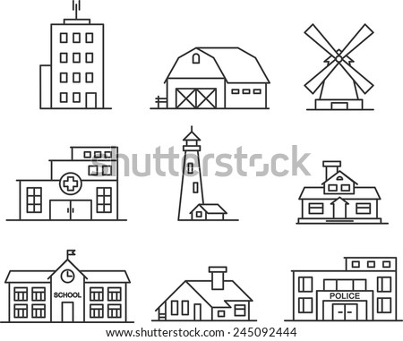 Real estate and government buildings icons in thin line style - stock vector