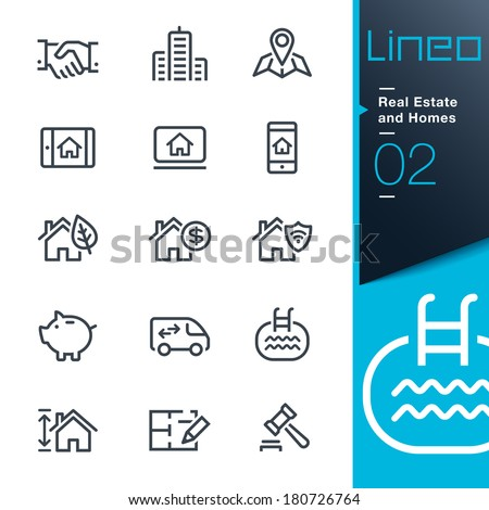 Real Estate and Homes outline icons  - stock vector