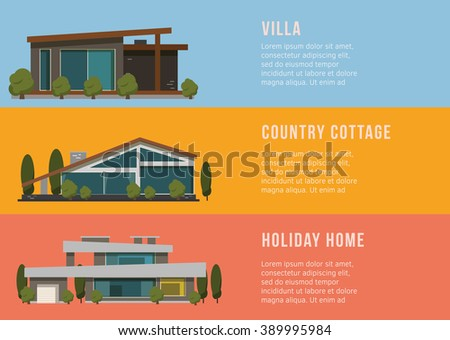 Real estate and house banners on the colorfull background. Flat Design. - stock vector