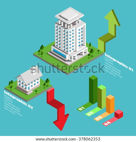 Real Estate And Property Business  Isometric Building Diagram Vector Design Template