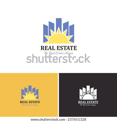 Real Estate and Sun Lights Concept Vector Icons, Logos, Sign, Symbol Template  - stock vector