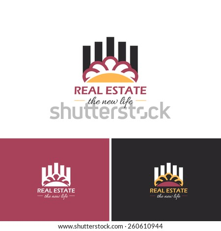 Real Estate and Sun or Crown Symbol Vector Icons, Logos, Sign Template  - stock vector