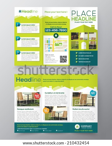 Real Estate Brochure Flyer design vector template in A4 size Tri fold  - stock vector