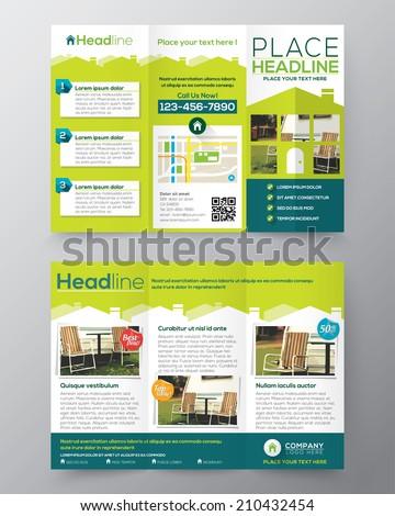 Real Estate Brochure Flyer design vector template in A4 size Tri fold  - stock vector
