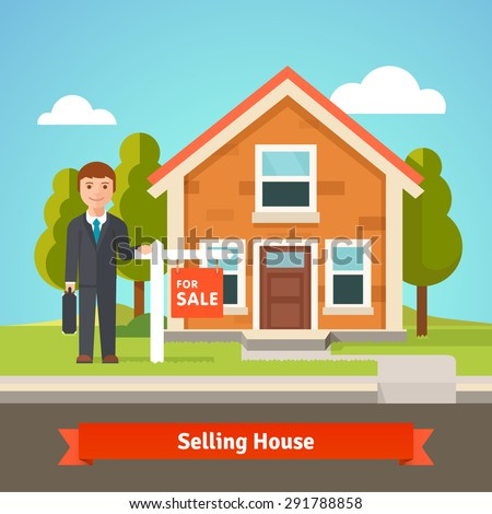 Real estate broker agent standing in front of new cozy house with for sale sign. Flat style vector illustration. - stock vector