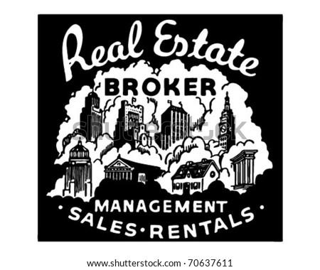 Real Estate Broker - Management Sales Rentals - Retro Ad Art Banner - stock vector