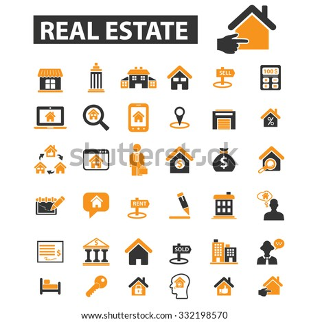 real estate, building, house, construction, contract icon & sign concept vector set for infographics, website - stock vector