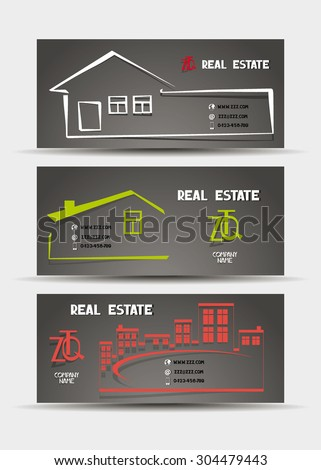 Real estate business cards with the silhouettes of houses with place for text