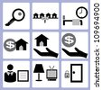 real estate business, housing icon set - stock vector