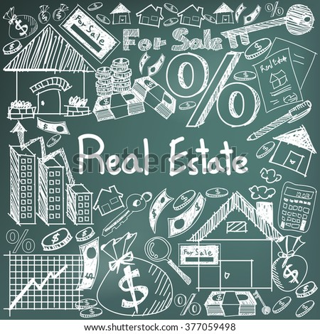 Real estate business industry and investment chalk handwriting doodle sign and symbol in black board background used for education subject presentation or introduction with sample text  (vector)