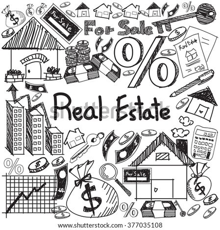 Real estate business industry and investment handwriting doodle sign and symbol in white isolated background paper used for education subject presentation or introduction with text, create by vector   - stock vector