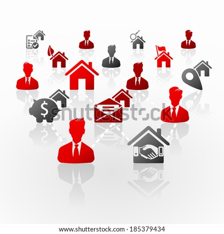 Real estate business network abstract illustration - stock vector